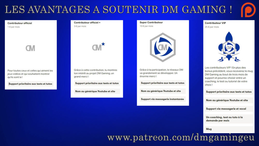 advantages of supporting dm gaming on Patréon