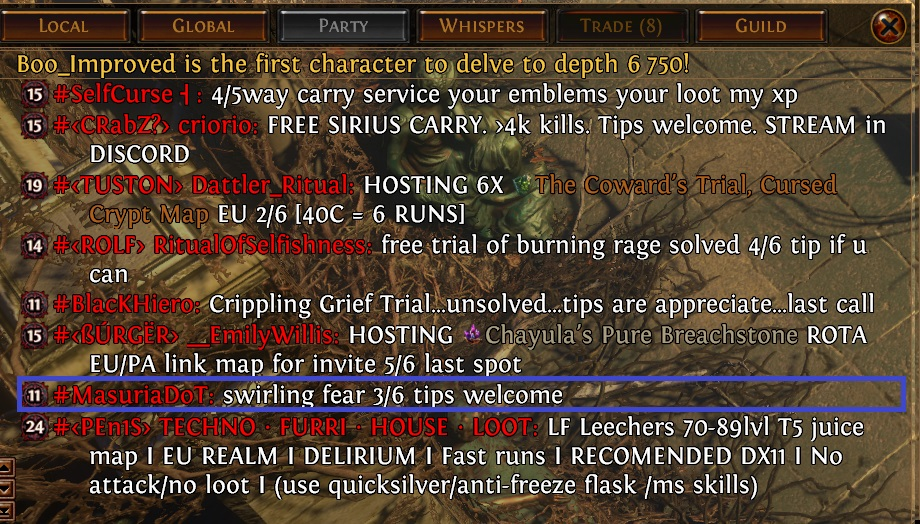 chat 820 path of exile