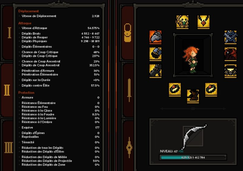 equipement et stats Build Chasseresse Colère X Speed Farm The Slormancer