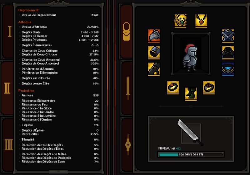 inventory and stats mighty knight build the slormancer dm gaming