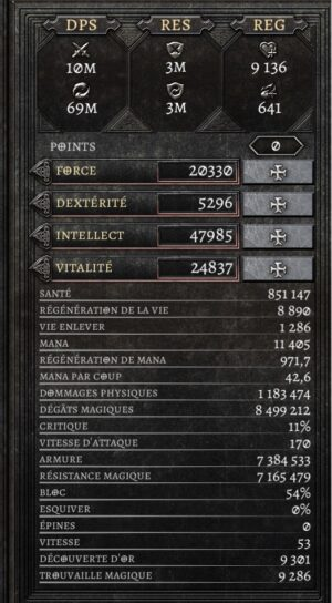 Statistiques build necromancien Anima The Reign of Darkness